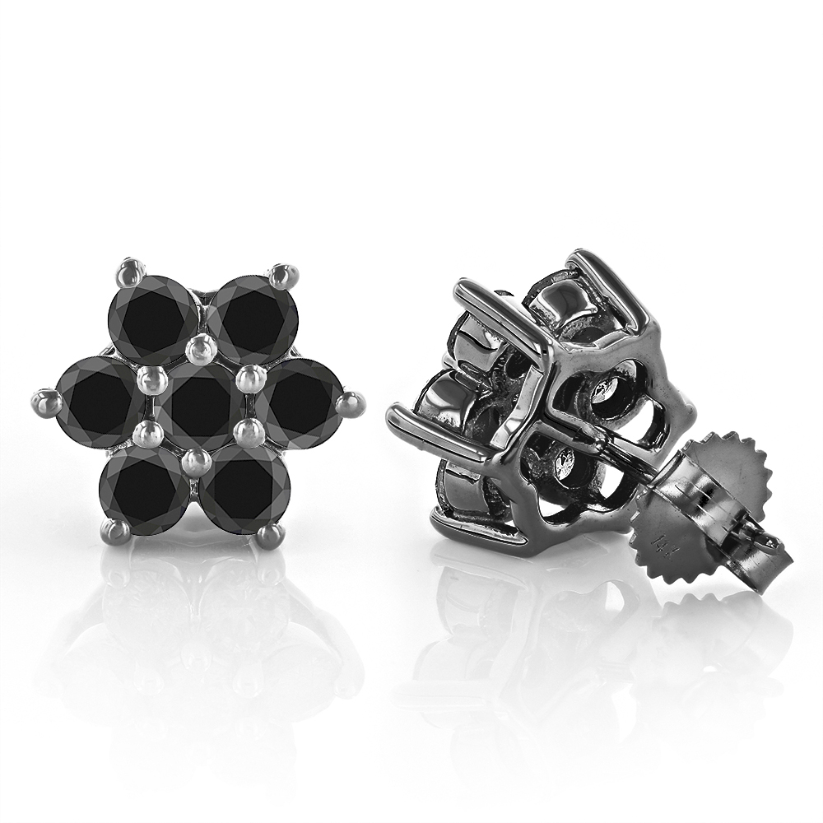 3 Carat Black Diamond Stud Earrings Clusters 14K Gold