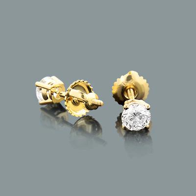 3/4 Carat 14K Yellow Gold Discount Diamond Studs Earrings Round 0.75ct