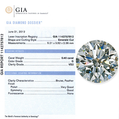 0.40CT Emerald  Cut Diamond G VS2 GIA Certified