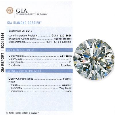 0.51CT Round Cut Diamond H I1 GIA Certified