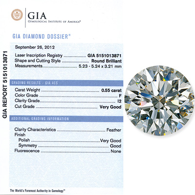 0.55 CT Round Cut  Diamond F I1 GIA Certified