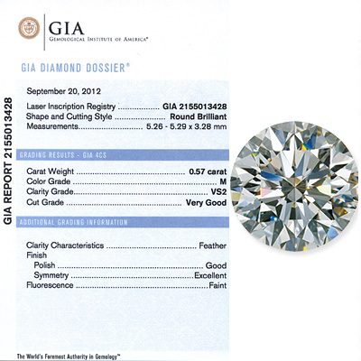0.57 CT Round Cut Diamond M VS2 GIA Certificatipn