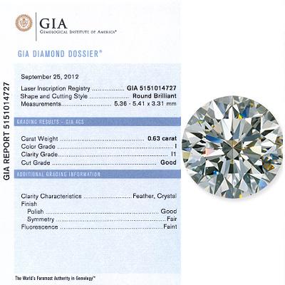 0.63 CT Round Cut Diamond G I1 GIA Certified