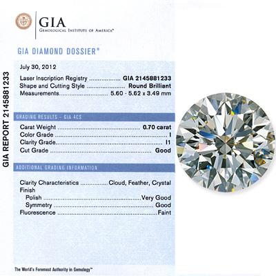 0.70 CT Round Cut diamond I I1 GIA Certified