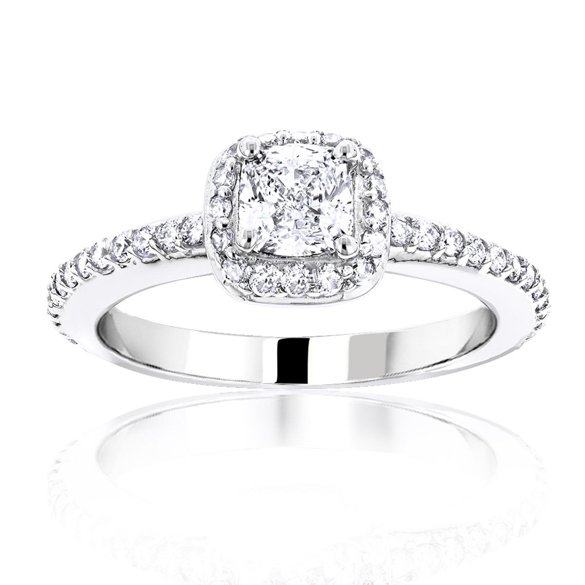 1 Carat Cushion Cut Diamond Engagement Ring 14K Gold Halo Design
