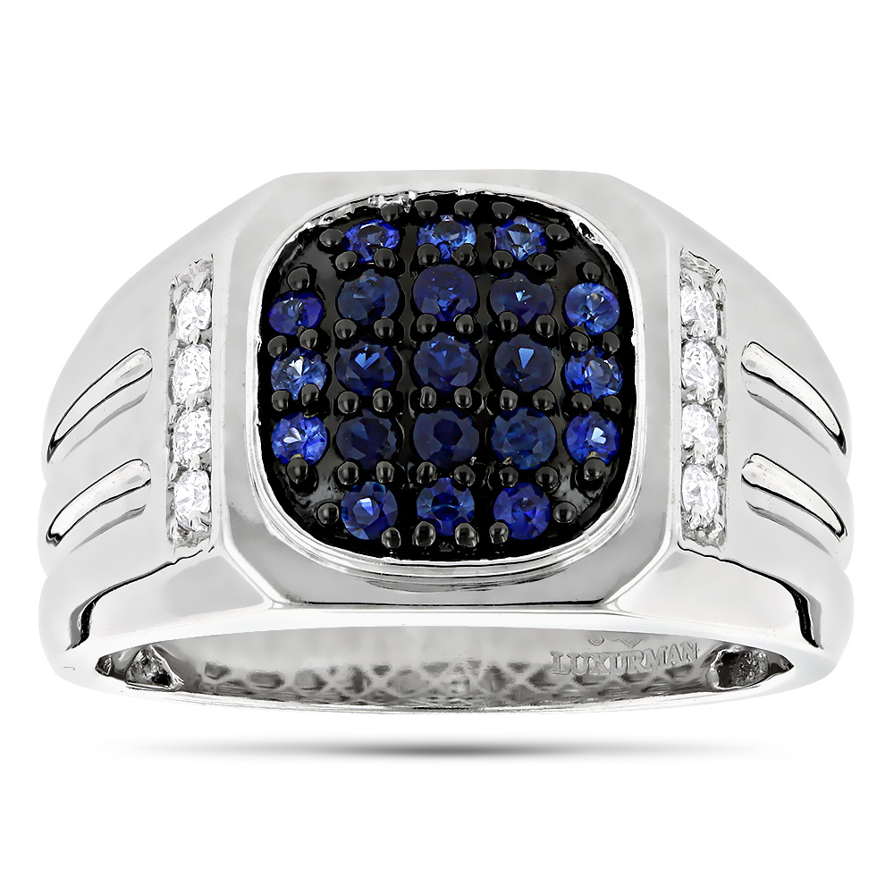1 Carat Diamond and Blue Sapphires Mens Ring 14k Gold Luxurman Pinky Rings
