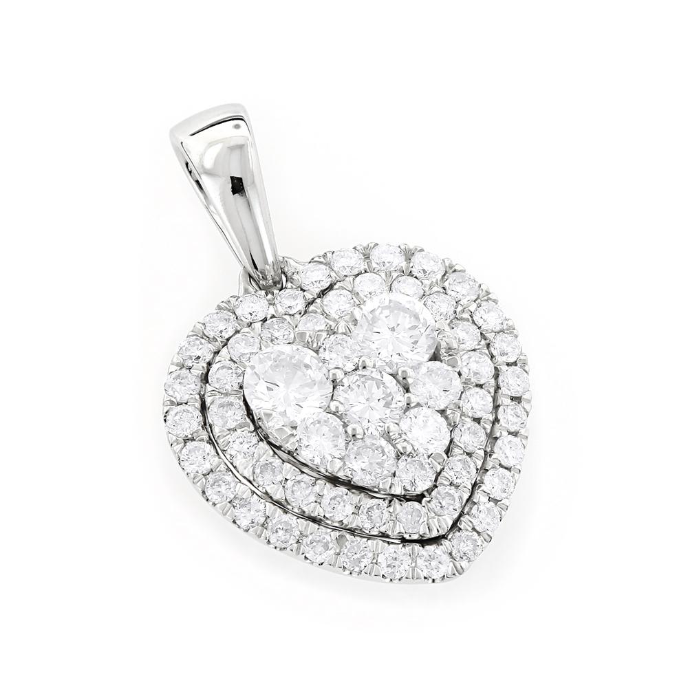 1 Carat Diamond Heart Pendant for Women Cluster Design 14k Gold