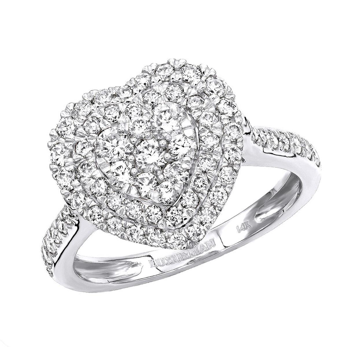 1 Carat Diamond Ring for Women Heart Design 14K Yellow Rose White Gold
