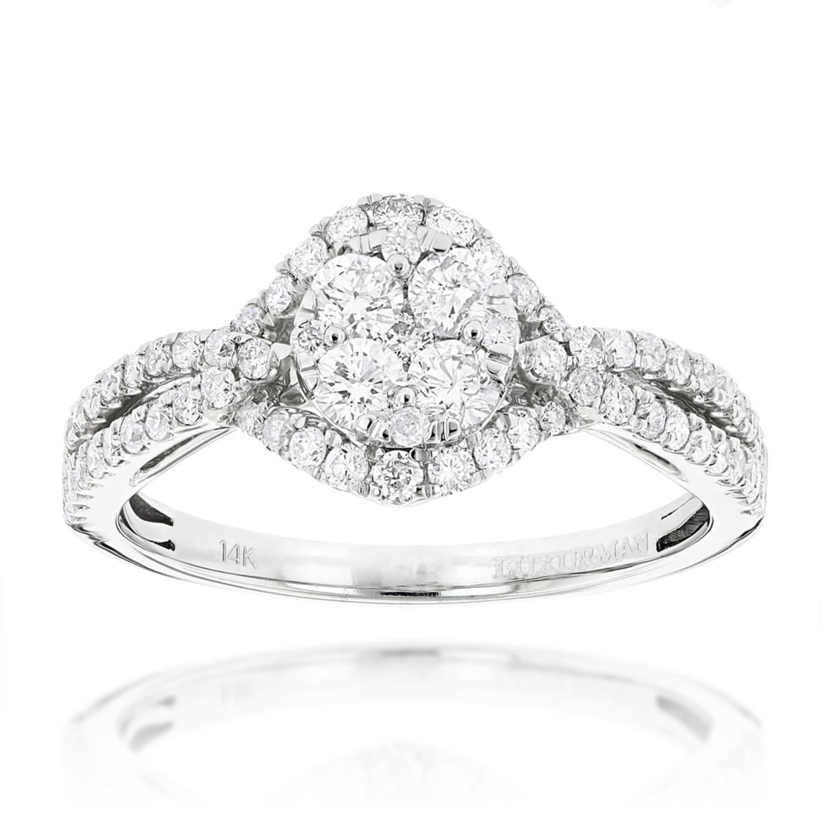 1 Carat Luxurman Ladies Diamond Engagement Ring Cluster Diamonds 14K Gold