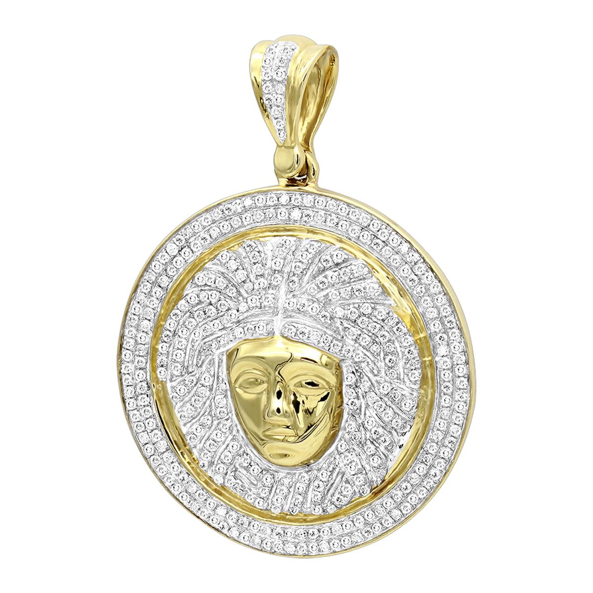 1 Carat Mini  Diamond Medusa Head Pendant for Men Medallion in 10k Gold