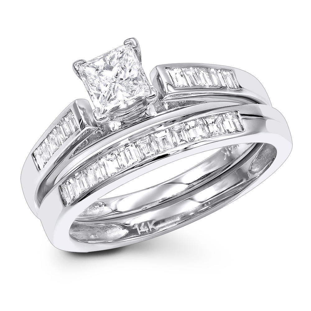 1 Carat Princess Diamond Engagement Ring Set with Band by Luxurman 14k Gold
