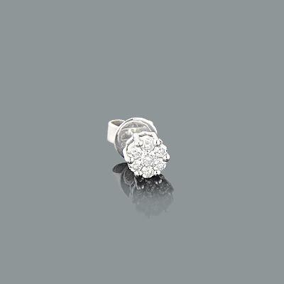 1 Cluster Diamond Earring 0.20ct 14K Gold Single Earring Mens