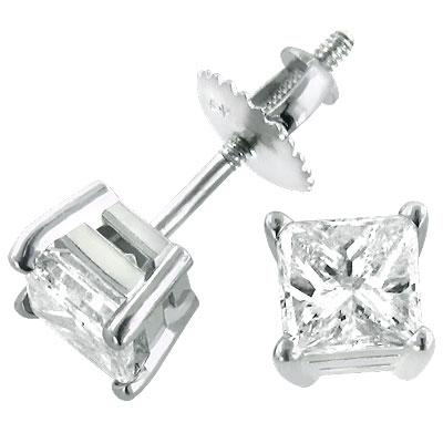 1 carat Diamond Stud Earrings w Princess Diamonds 14K White Gold