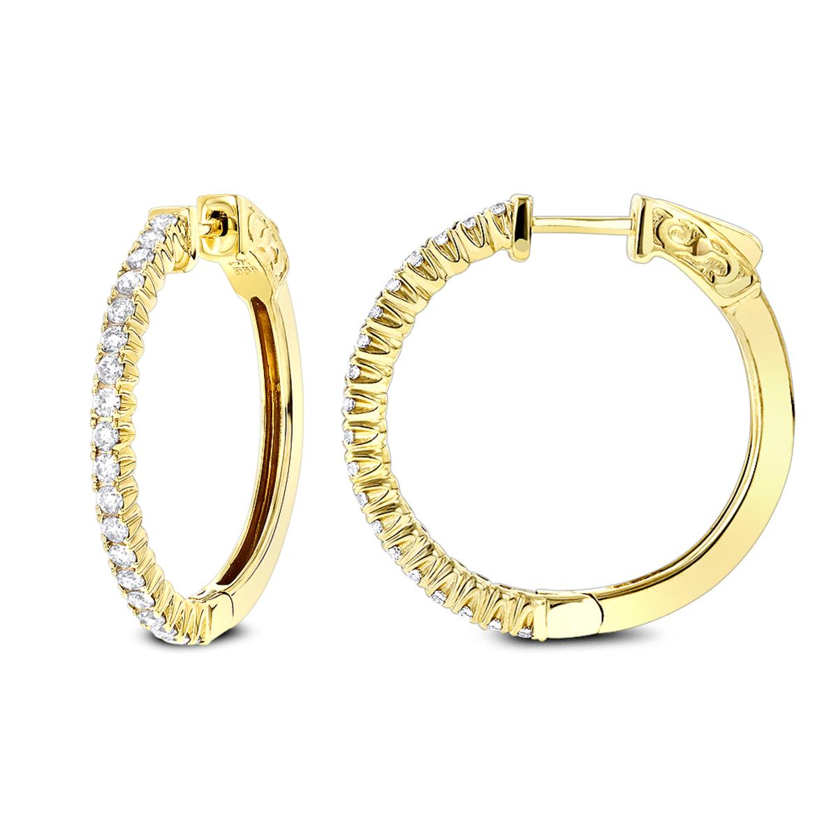 1 Inch Diamond Hoop Earrings 0.86ct 14K Gold