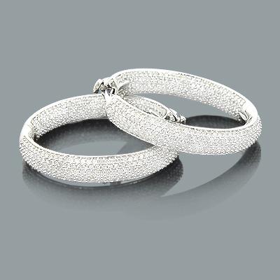 1 Inch Diamond Hoop Earrings 1.31ct 14K Gold