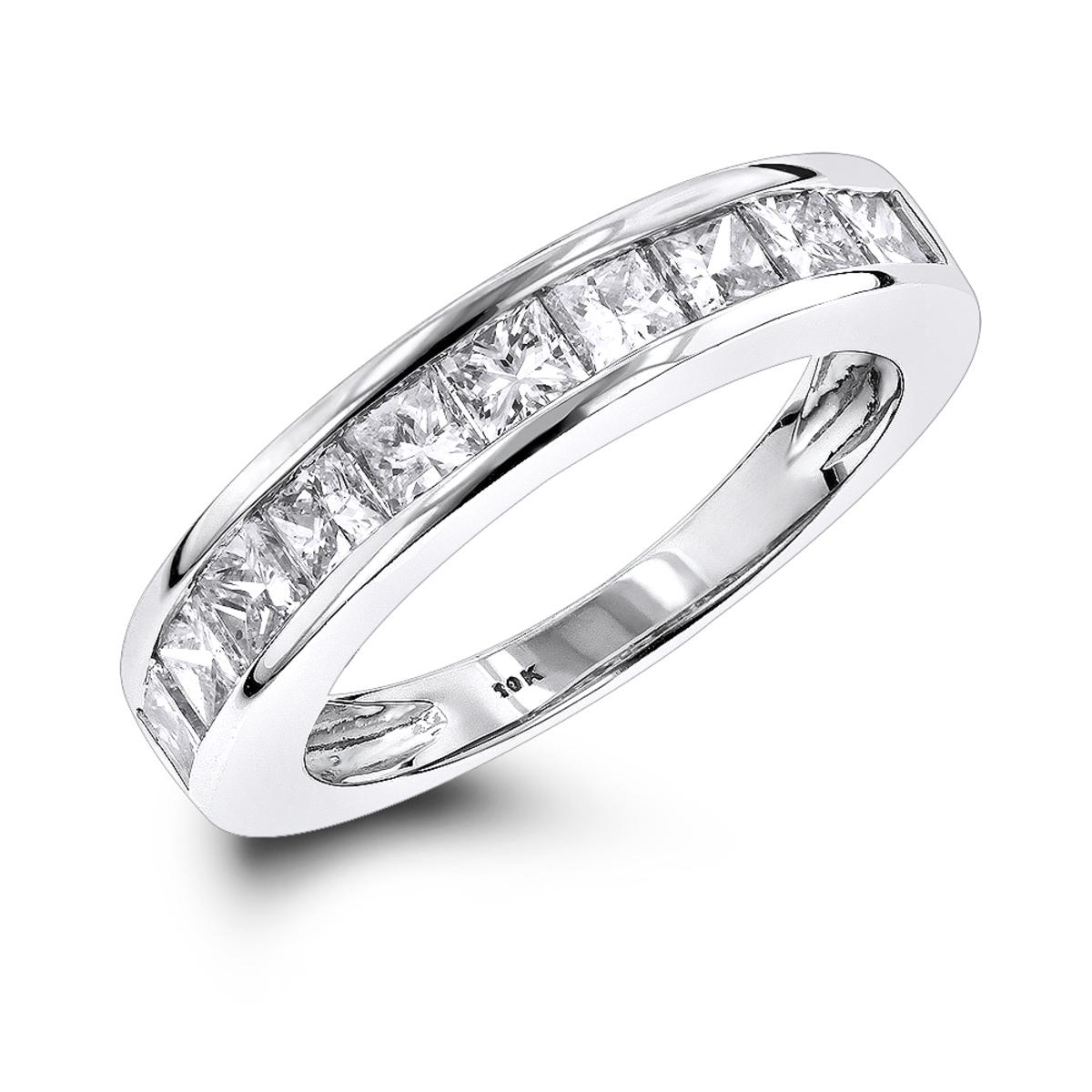 Thin 1 Row Princess Cut Diamond Wedding Band 1.65ct 10K Gold