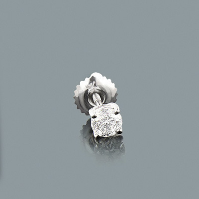 1 Single Round Diamond Stud Earring 0.25ct 14K Gold