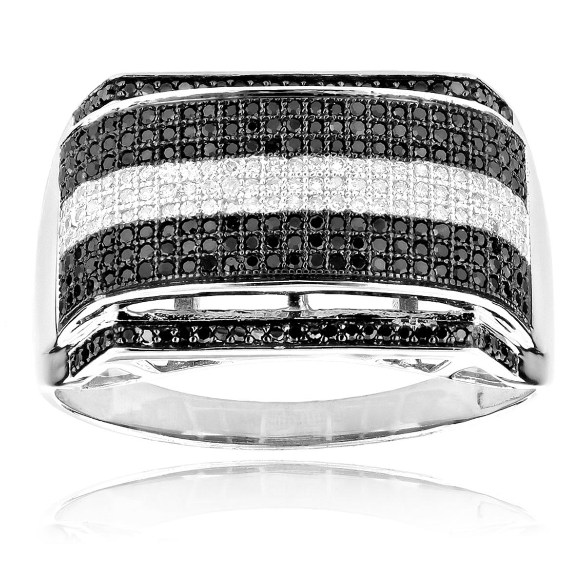 White and Black Diamonds Ring 0.84ct 10k Gold Mens Diamond Band