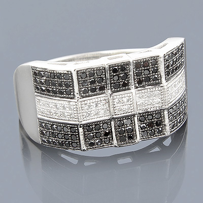 10K Black and White Mens Diamond Ring 0.62ct