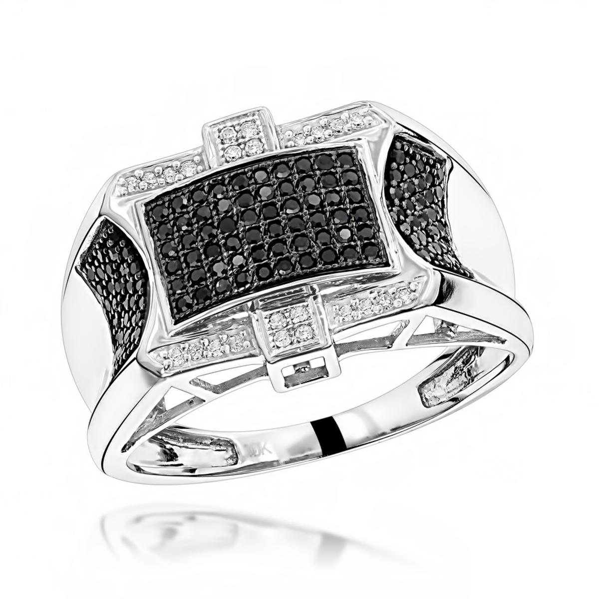 10K Black and White Mens Diamond Ring 0.5ct
