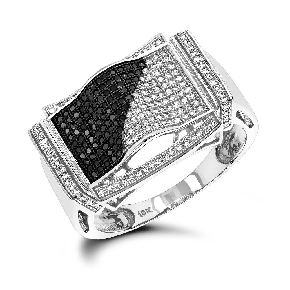 10K Black and White Mens Diamond Ring 0.60ct