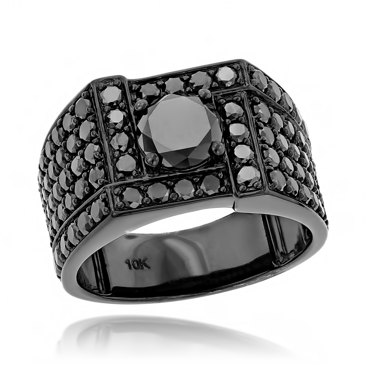 10K Black Plated Gold Black Diamond Ring for Men 4ct by Luxurman