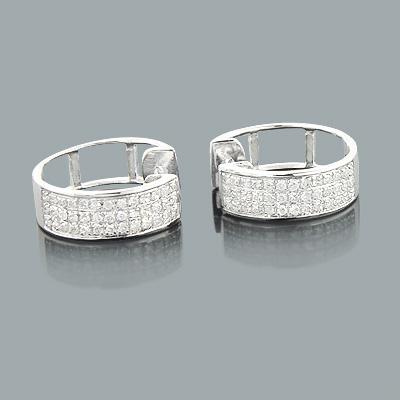 10K Gold Diamond Hoop Huggie Earrings 0.40ct