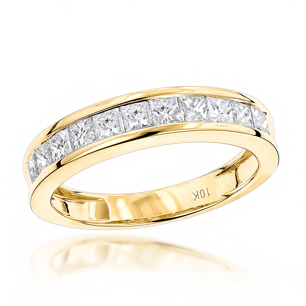 10K Gold 1 Carat Princess Cut Diamond Wedding Band by Luxurman