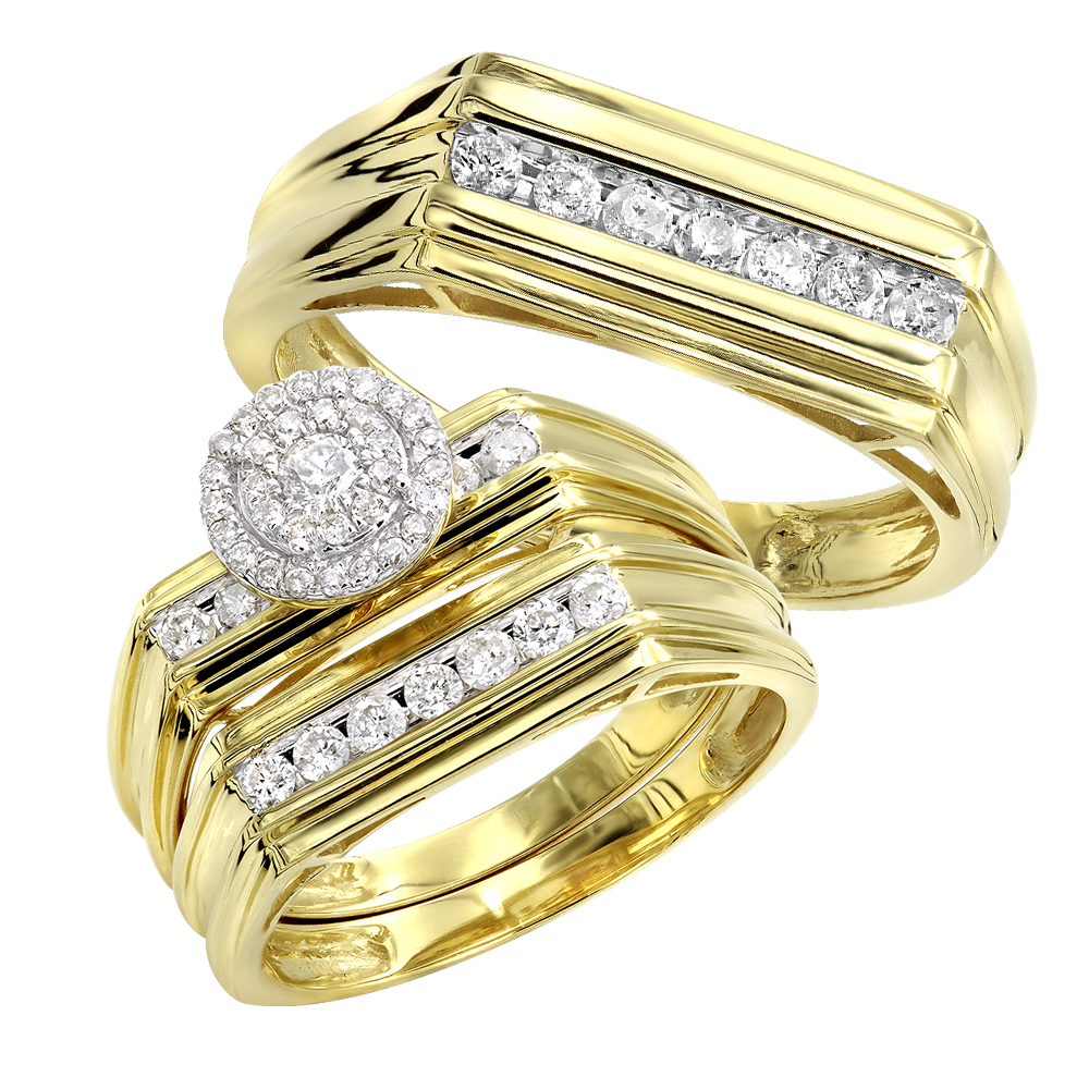 10k Gold Affordable Cluster Diamond Engagement Ring Wedding Band Trio Set