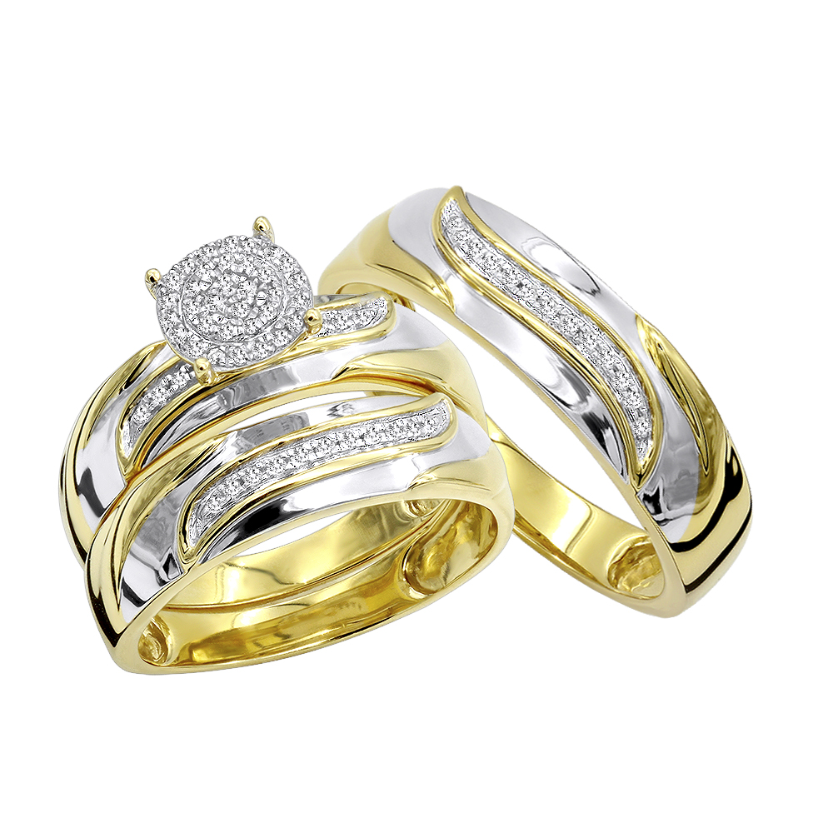 10K Gold Affordable Diamond Engagement Ring Wedding Bang Trio Set 0.2ct