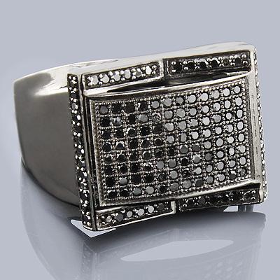10K Gold Black Diamond Ring 0.60ct