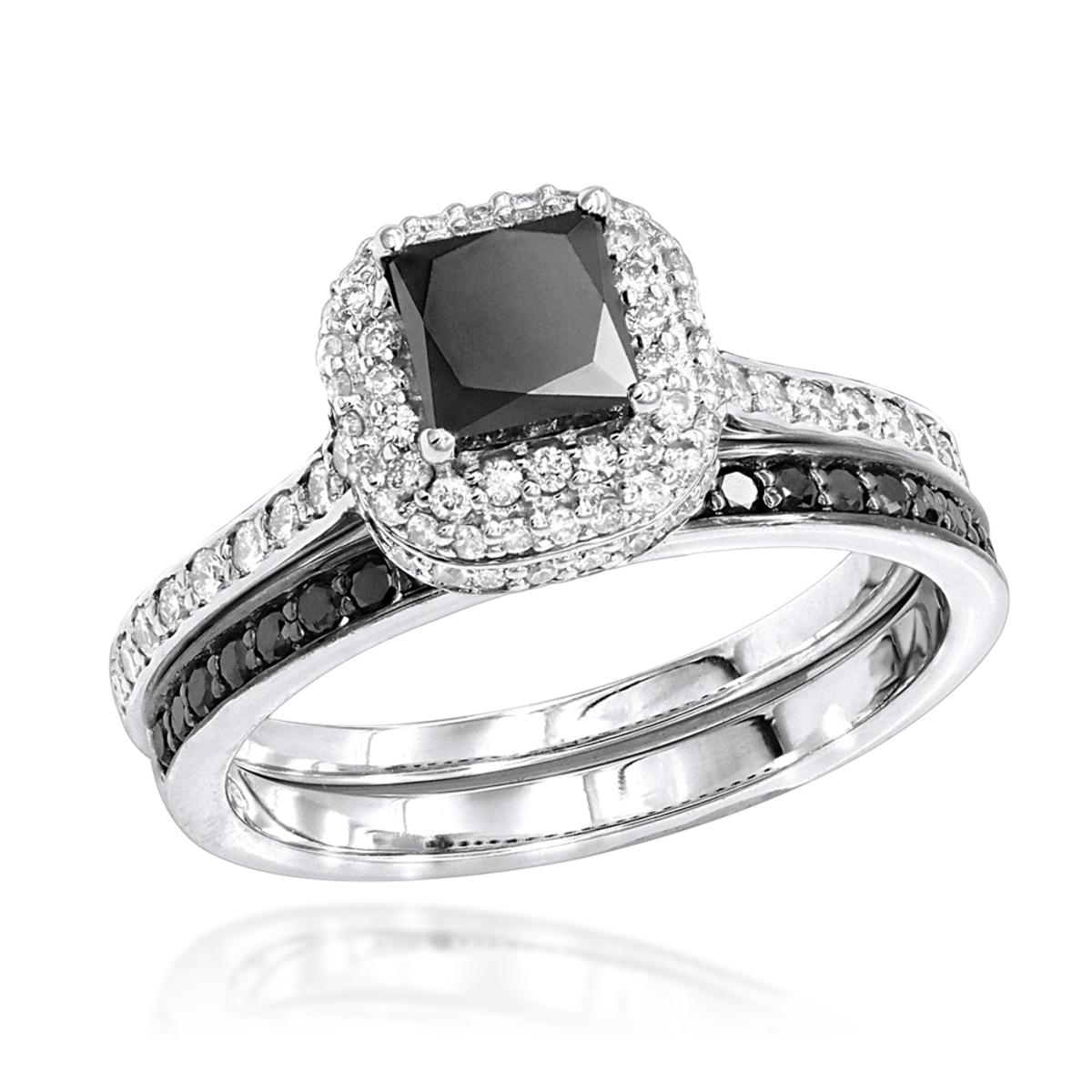10K Gold White Black Diamond Unique Bridal Engagement Ring Set 1.2ct