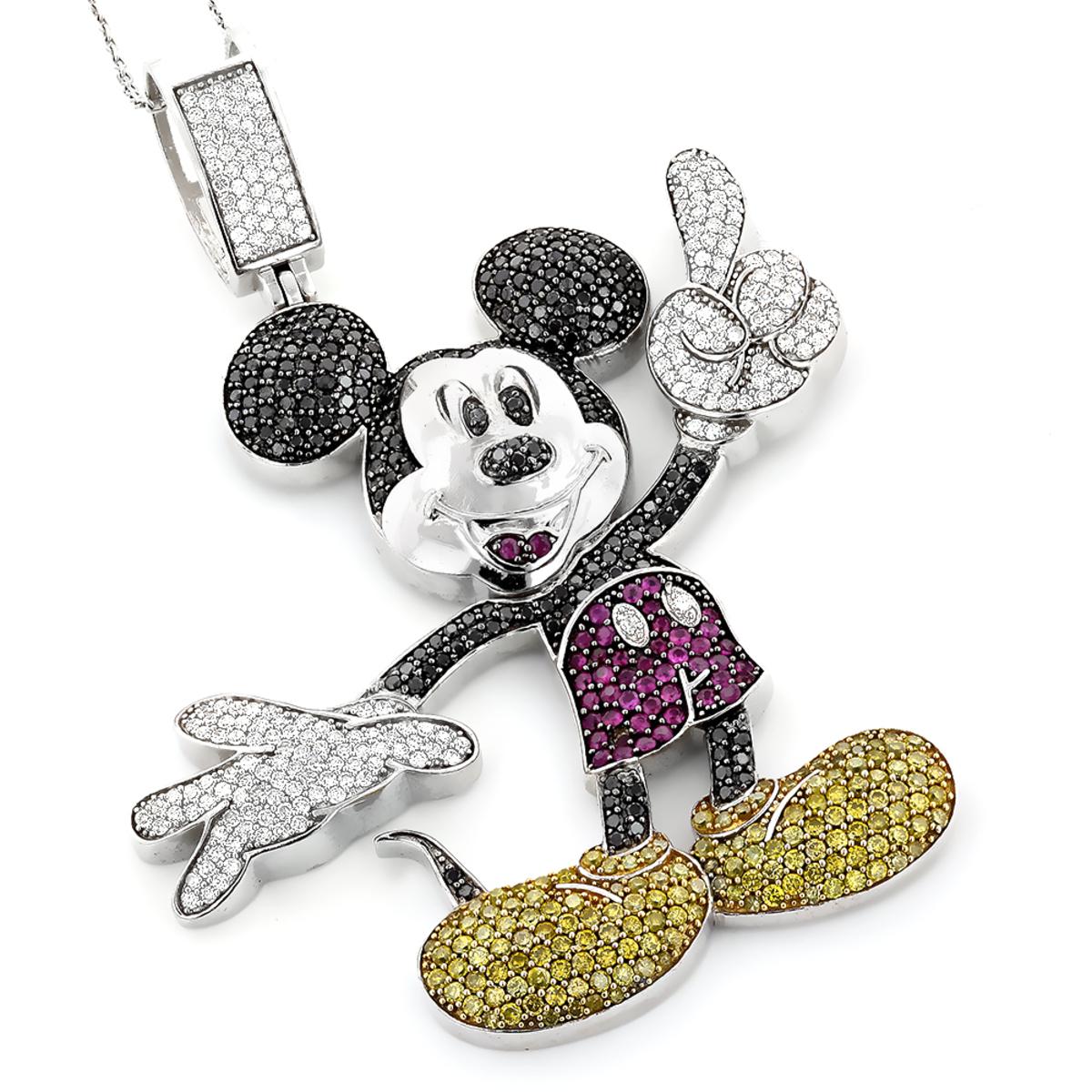 10K Gold Color Diamond Mickey Mouse Pendant 5.22ct