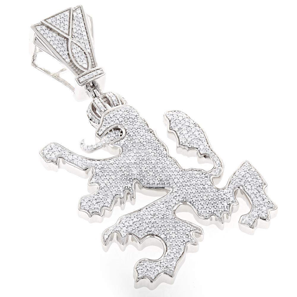 10K Gold Diamond Crown Lion Pendant 2.75ct