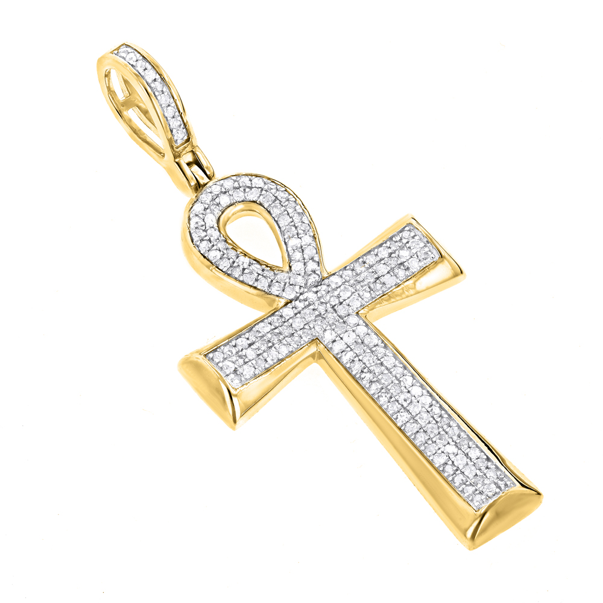 10k gold diamond egyptian cross ankh pendant of life 04ct aloadofball Images