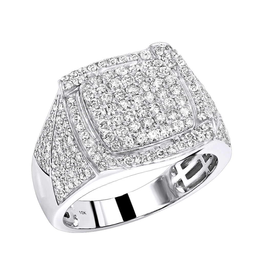 10K Gold Diamond Ring for Men 1.75ct Pinky Ring by Luxurman