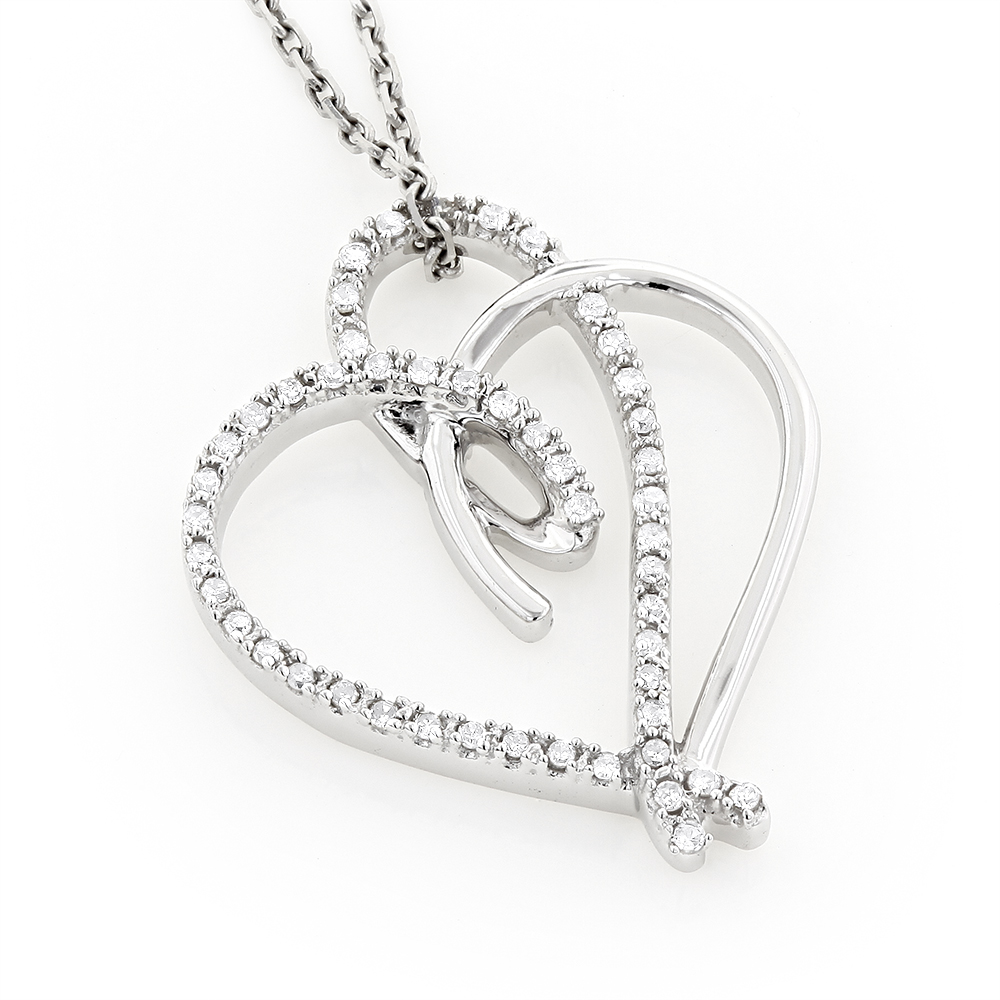 10k Gold Double Heart Diamond Pendant 0.18ct