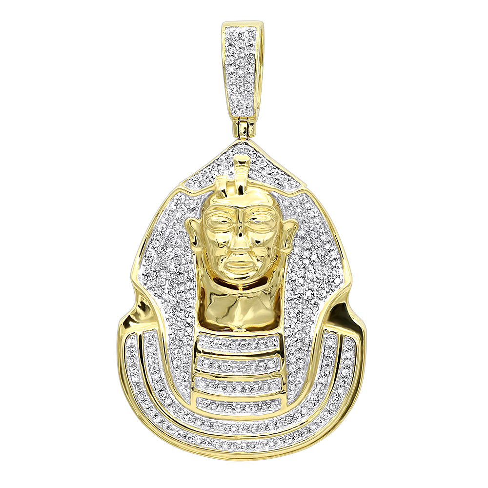 10k gold egyptian pharaoh head diamond pendant for men 09ct mozeypictures Choice Image
