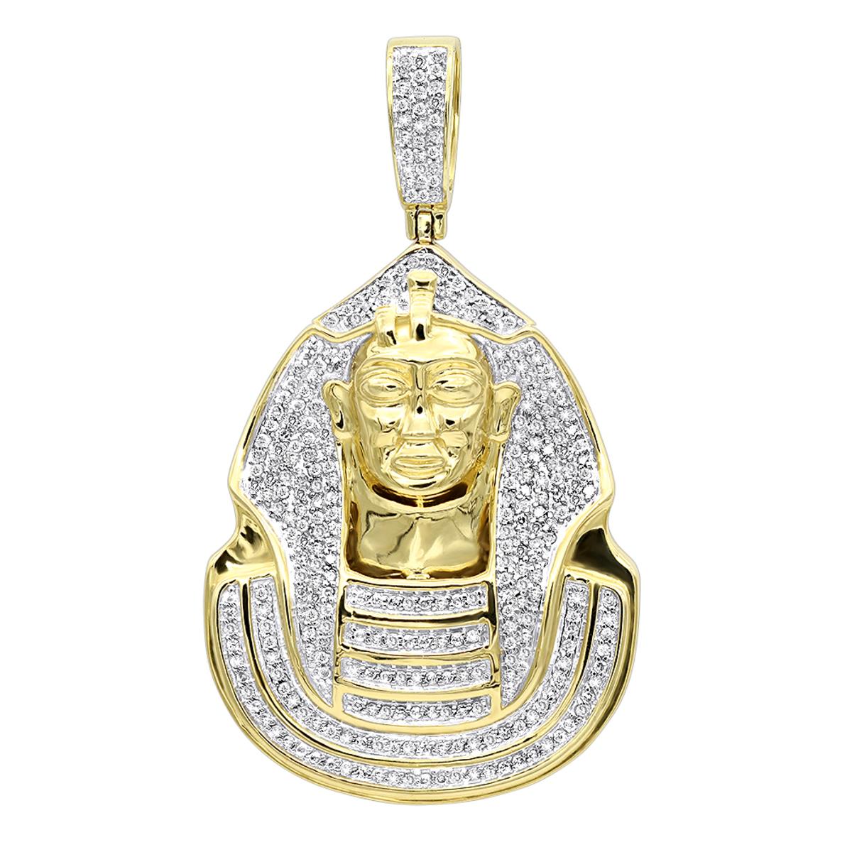 10K Gold Egyptian Pharaoh Head Diamond Pendant For Men 0.9ct