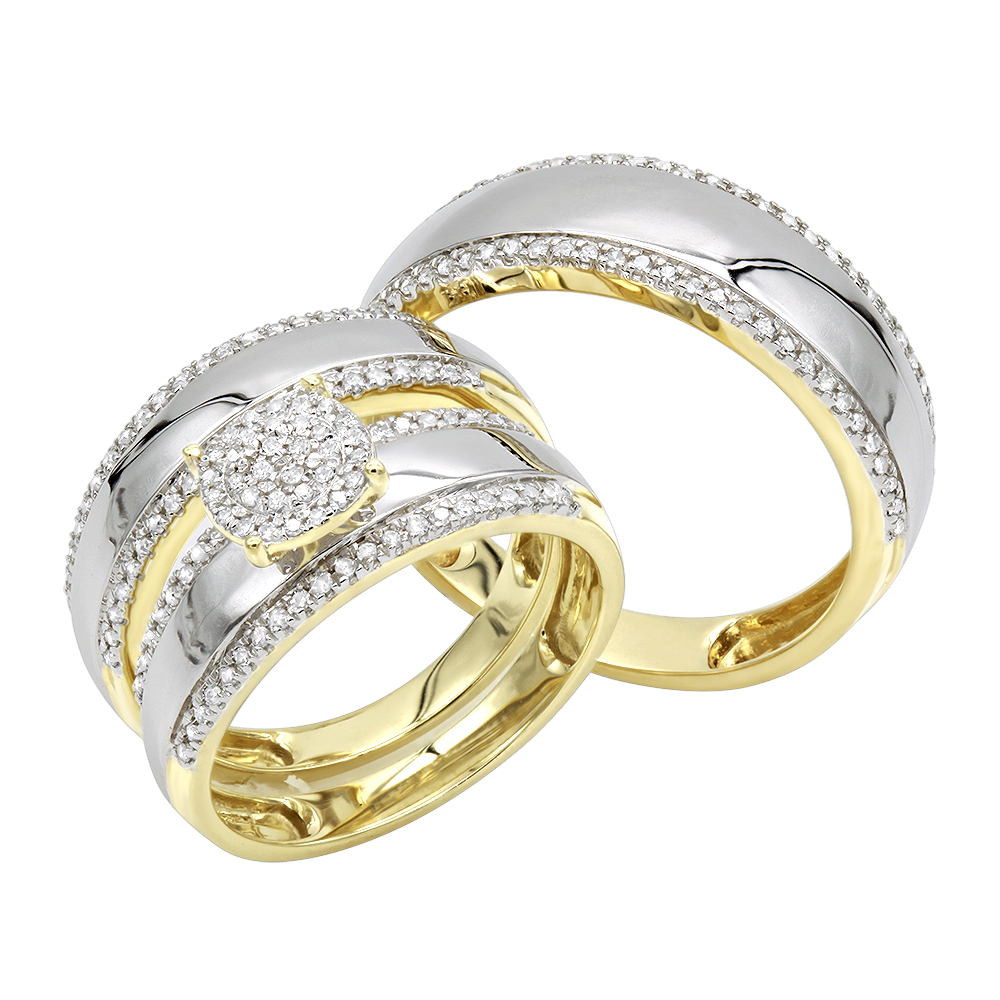 10K Gold  Engagement His and Hers Trio Diamond Wedding Ring Set 0.5ct