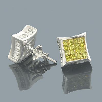 10K Gold Fancy Yellow Diamond Stud Earrings 1.14ct