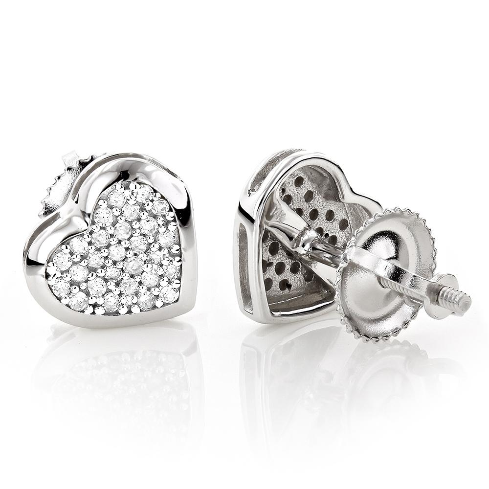 10K Gold Heart Diamond Earrings 0.16ct