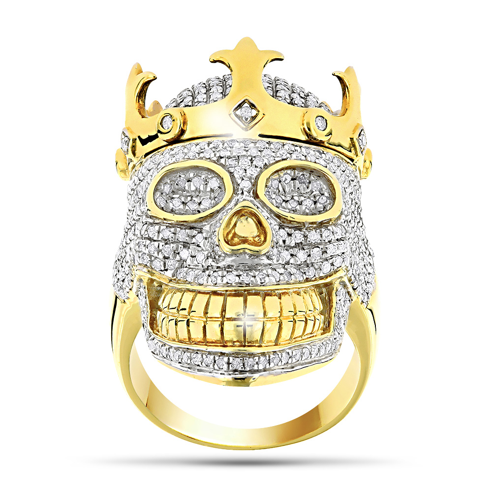 10K Gold Hip Hop Jewelry Mens Diamond Skull Ring with Crown 275ct