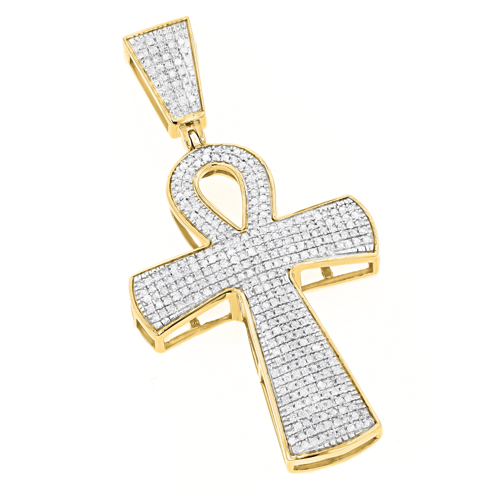 10k gold iced out egyptian ankh cross diamond symbol of life 10k gold iced out egyptian ankh cross diamond symbol of life pendant 085ct buycottarizona Image collections