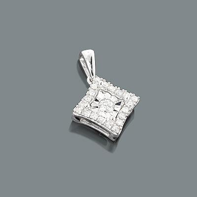 10K Gold Ladies Diamond Pendant 1 Carat Look