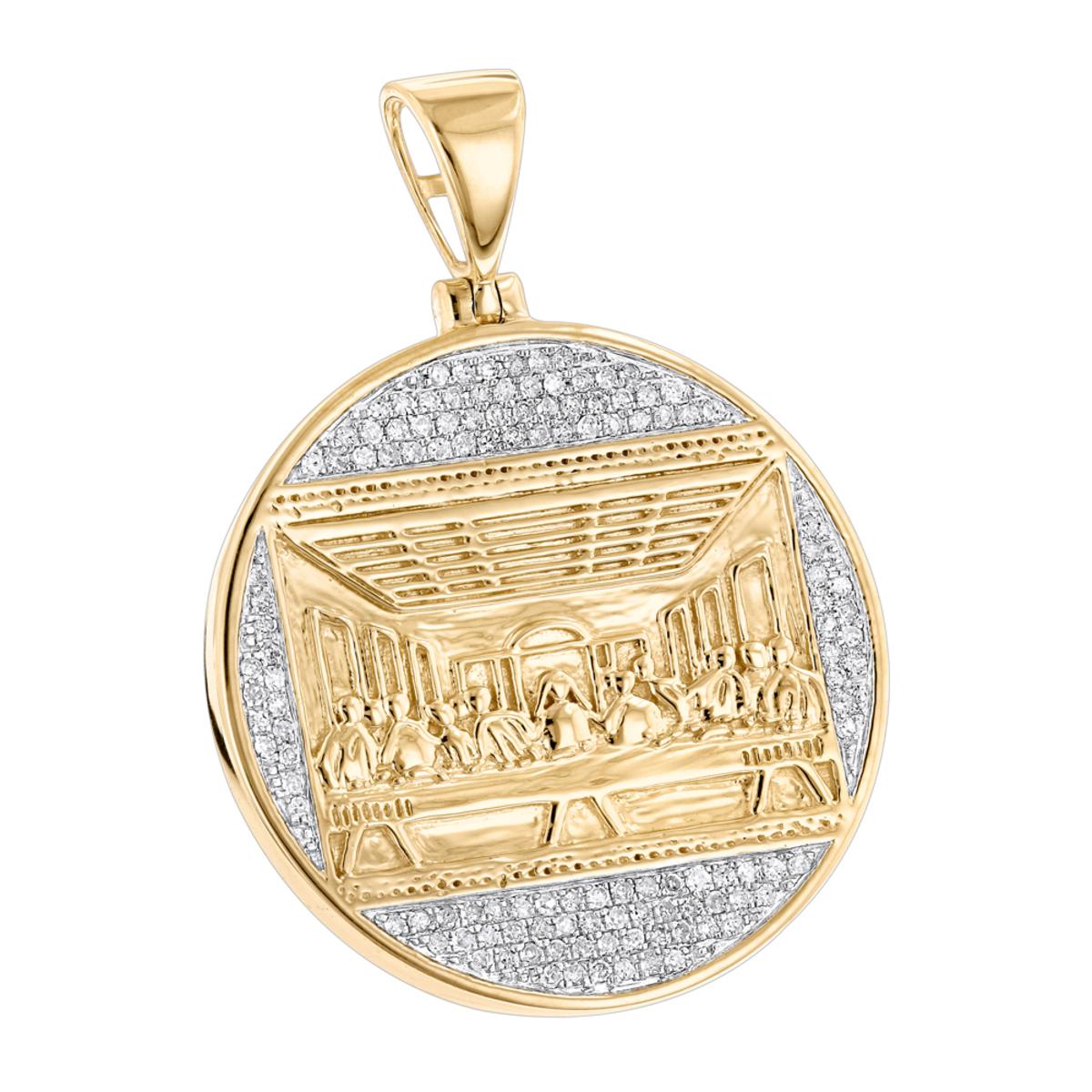 10K Gold Last Supper Diamond Pendant for Men Medallion by Luxurman