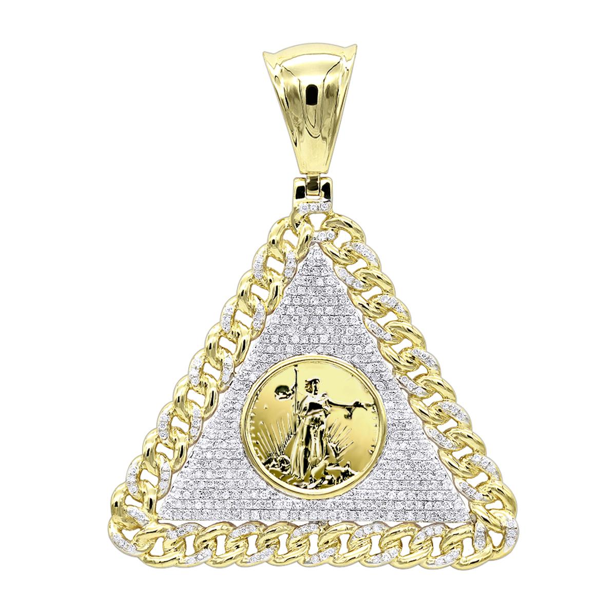 10K Gold Liberty Coin Cuban Link Triangle Diamond Pendant for Men 1.05ct