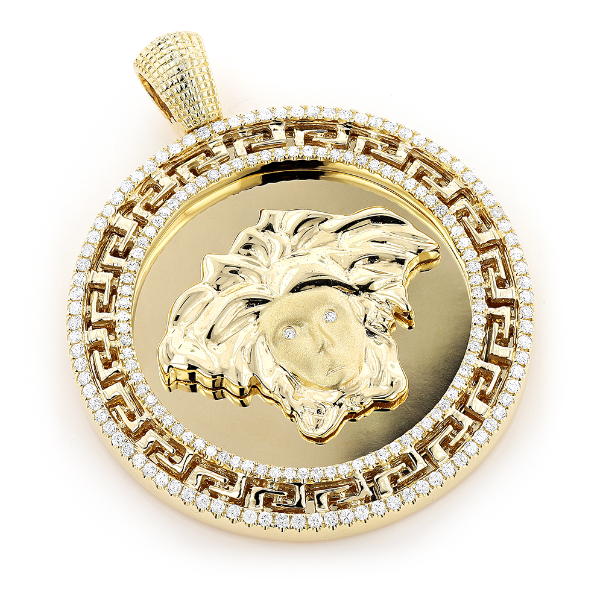 10k Gold Medusa Medallion Versace Style Diamond Pendant 1.86ct