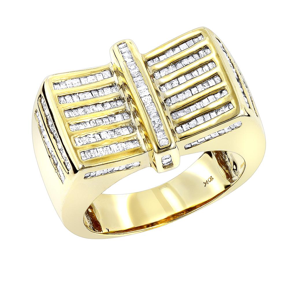 10K Gold Mens Baguette Diamond Ring 1.25ct