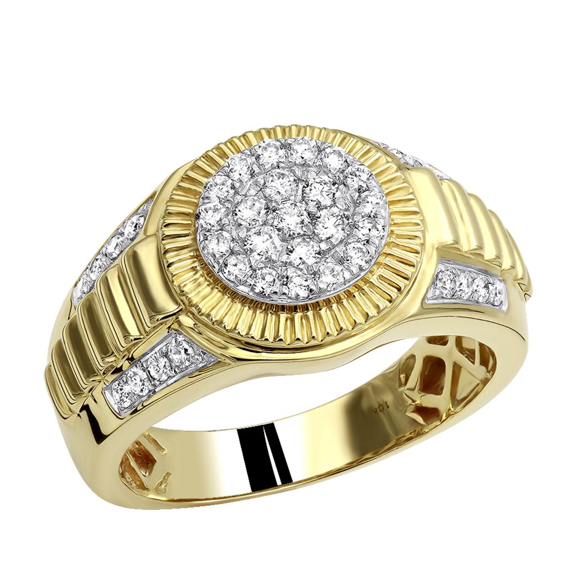 10k Gold Men's Cluster Diamond Jubilee Ring 0.75ct